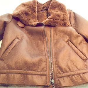 Faux Suede Shearling Jacket ZARA
